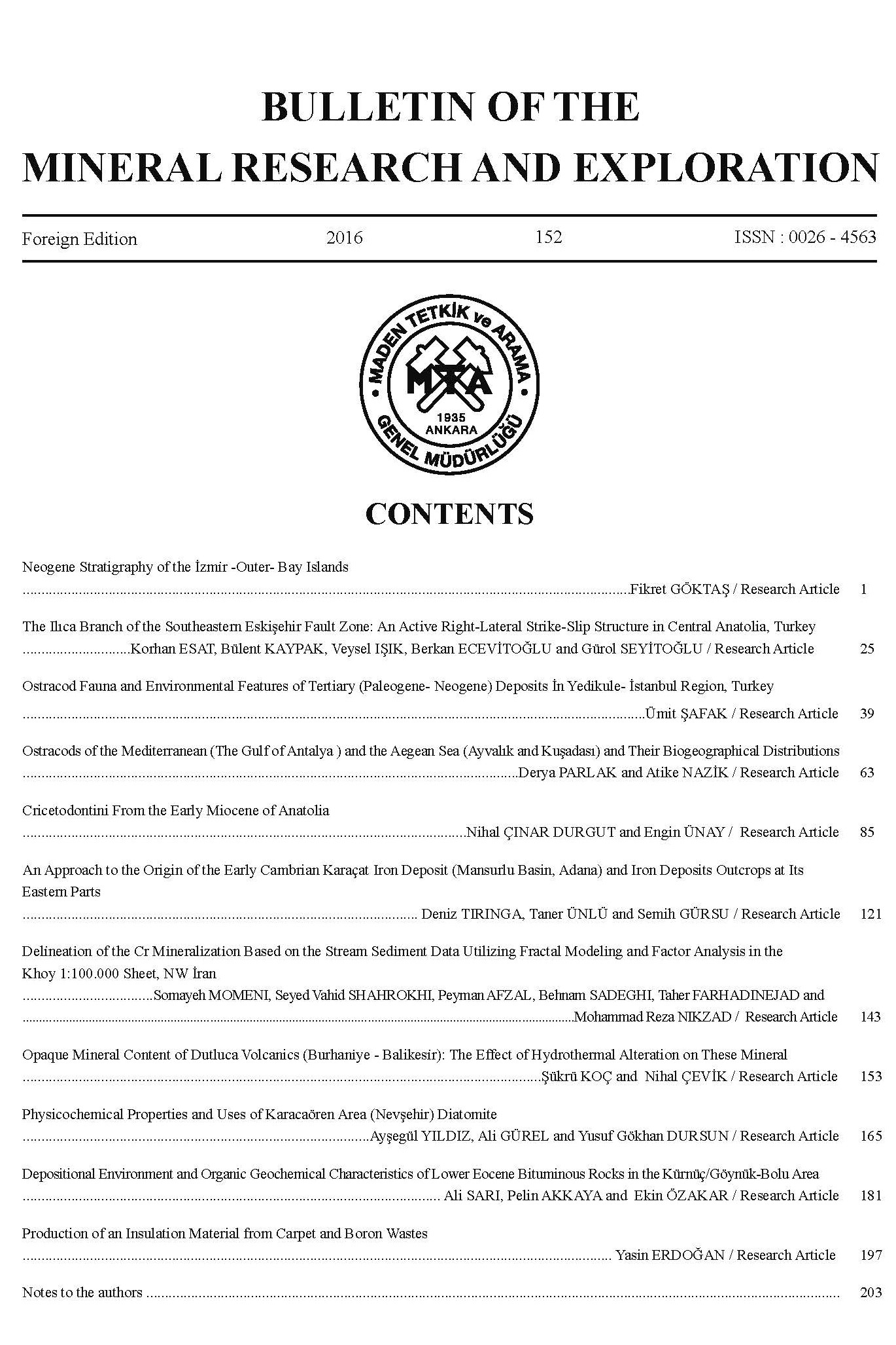 Bulletin  of the Mineral Research and Exploration