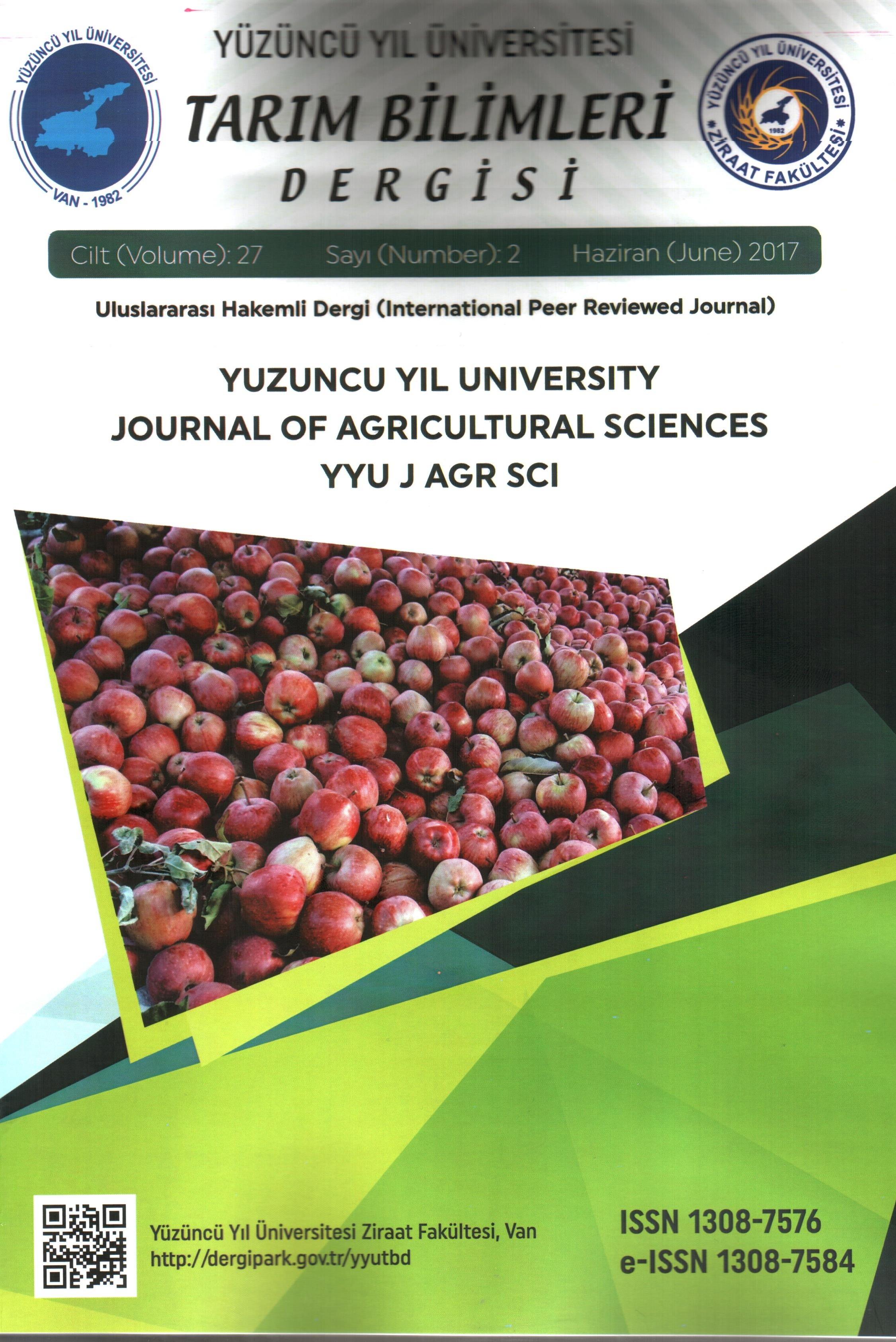 Yüzüncü Yıl Üniversitesi Tarım Bilimleri Dergisi